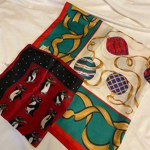 Set of 2 Talbots 100% Silk Christmas Scarves